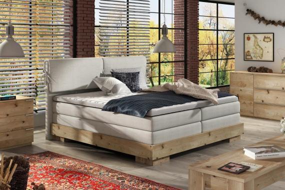 NEMESIS kvalitní boxspring postel v dřevěném rámu | 3 rozměry