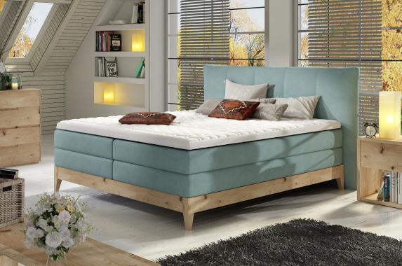 AION kvalitní boxspring postel v dřevěném rámu | 3 rozměry