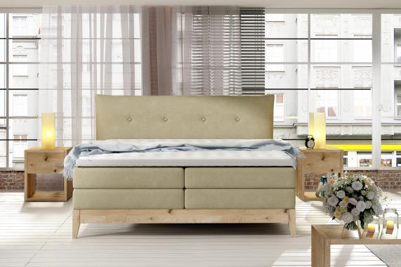 FILLA kvalitná boxspring posteľ v drevenom ráme | 3 rozmery