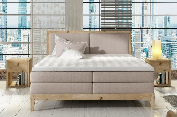 GAVIRIA kvalitní boxspring postel v dřevěném rámu | 3 rozměry