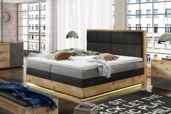 LIGHT boxspring posteľ v masívnom ráme s LED osvetlením | 3 rozmery
