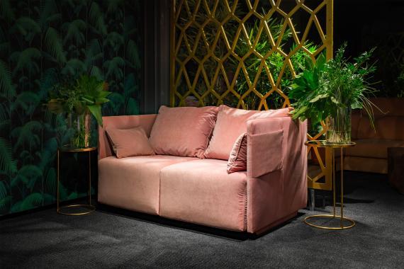 ANITA 2-Sitzer Sofa für regelmäßiges Schlafen, Silikonkissen, Seitentasche