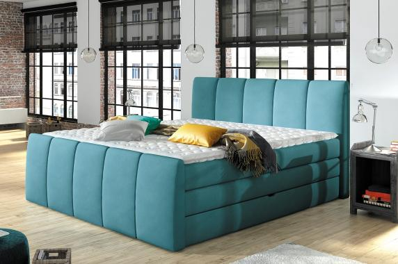 POLO čalúnená boxspring posteľ s úložným priestorom | 3 rozmery