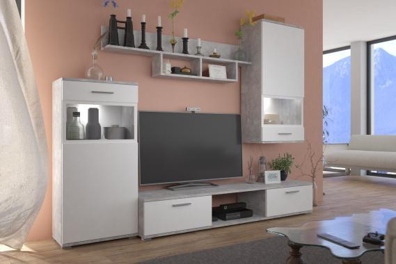 PIANO II Obývací stěna, bílá/sv. beton