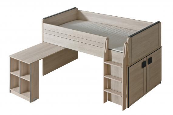 GUMI G15 vyvýšená patrová postel s vysouvacím stolem a skříní