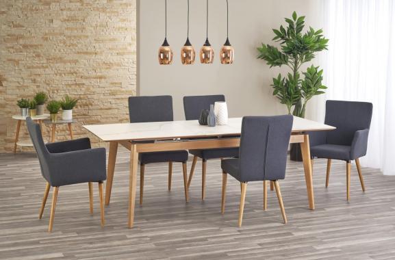 NASH rozkladací jedálenský stôl s mramorovou doskou