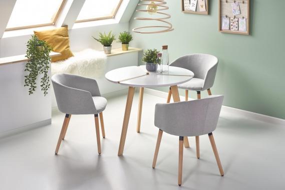 BENIN bílý kulatý jídelní stůl ve skandinávském designu