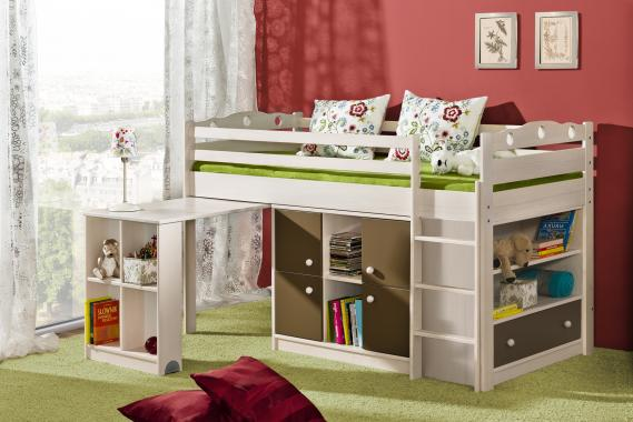 KAMIL vyvýšená postel s psacím stolem z masivního dřeva