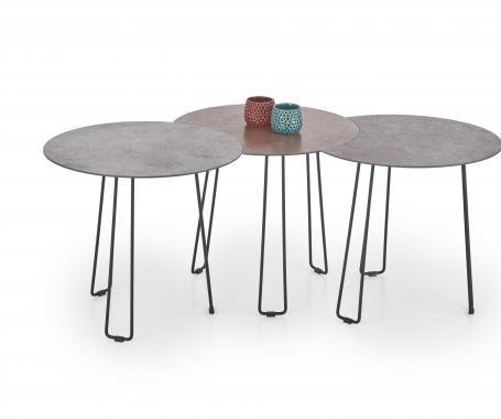 TRIPLE kulatý skleněný konferenční stolek s kamenným vzhledem