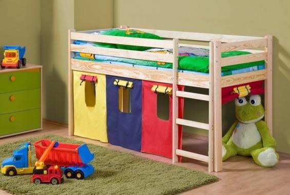 ENJA dětská vyvýšená postel z masivního dřeva