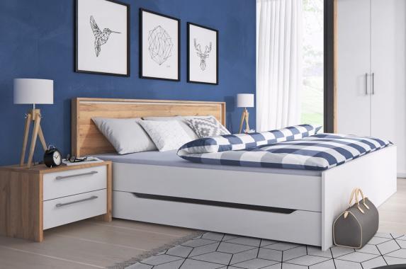 NORM biela manželská posteľ s úložným priestorom | 2 rozmery