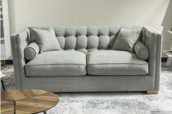 FELICIA 2-Sitzer Sofa im Chesterfield-Stil, tagtägliches Schlafen, Kissen mit Silikonfüllung