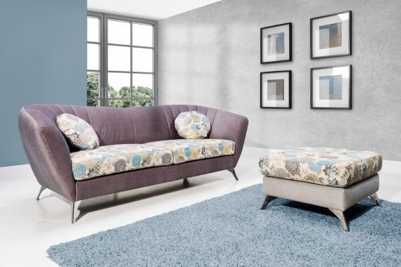 VITTORIO 3-Sitzer Designsofa, Floralmotiv, Holz- oder Metallfüße