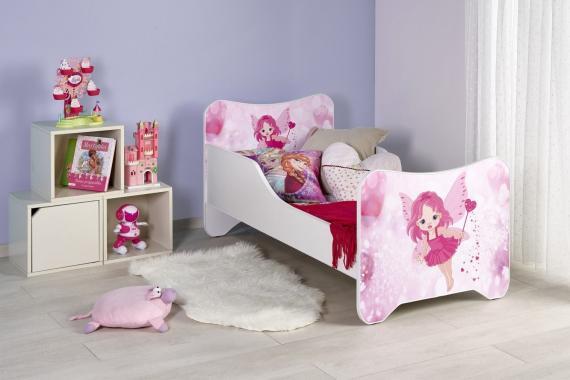 HAPPY FAIRY detská ružová posteľ s vílou