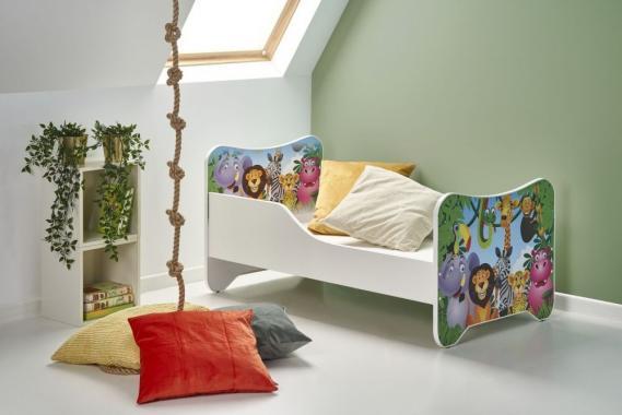 HAPPY JUNGLE detská posteľ s motívom zvieratiek