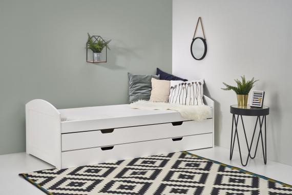 LAGUNA biela detská posteľ s prístelkou a úložným priestorom