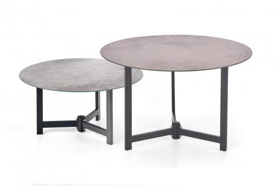 TWINS kulatý skleněný konferenční stolek s kamenným vzhledem
