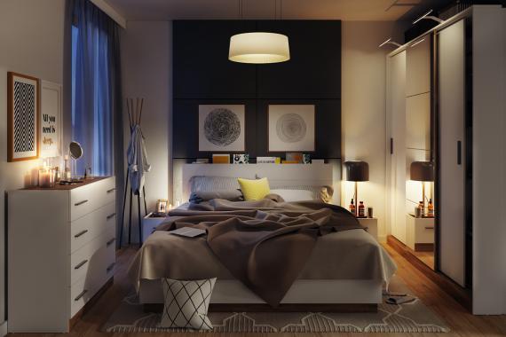 Dentro spálňa s LED osvetlením
