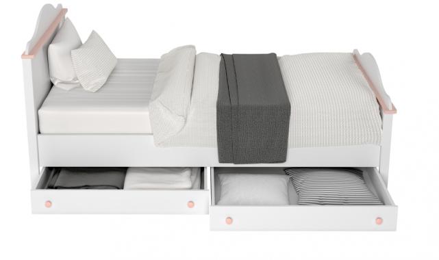 LUNA LN-08 bielo-ružová detská posteľ s matracom