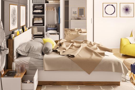 DENTRO postel s roštem, led osvětlením a úložným prostorem