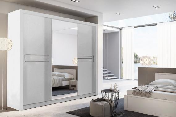 IDEA ID-11 velká šatní skříň se zrcadlem a posuvnými dveřmi