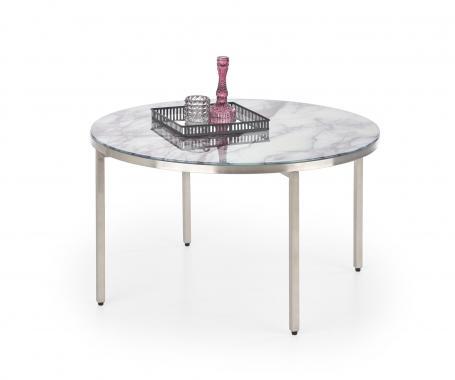 MANGUSTA guľatý oceľový konferenčný stolík s mramorovou doskou