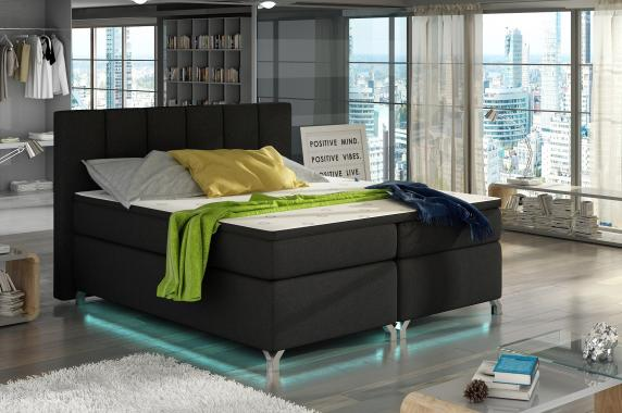 VERDI kontinentální postel boxspring s led osvětlením | 3 rozměry