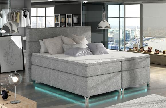 CAVALLI 140x200 cm kontinentální postel boxspring s led osvětlením