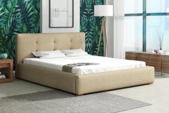 MARBELA čalouněná manželská postel s vysokým čelem