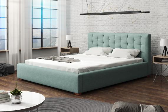 LUNETA čalouněná manželská postel s vysokým čelem