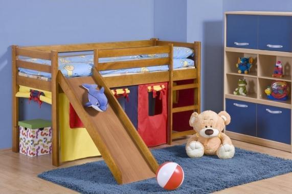 ENJA PLUS dětská vyvýšená postel se skluzavkou