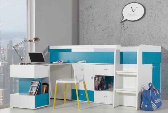 SHINE SH21 vyvýšená detská posteľ s písacím stolom a úložnými priestormi