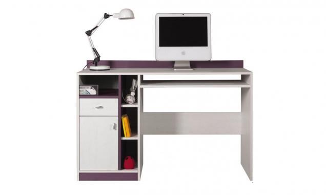 DALE fialovo bílý psací stůl do dětského pokoje
