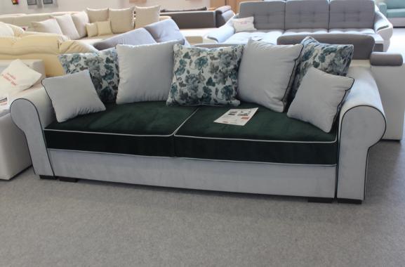 MONTANA DELUXE provensálska pohovka s rozkladacou funkciou a úložným priestorom, zeleno sivý poťah | VÝPREDAJ