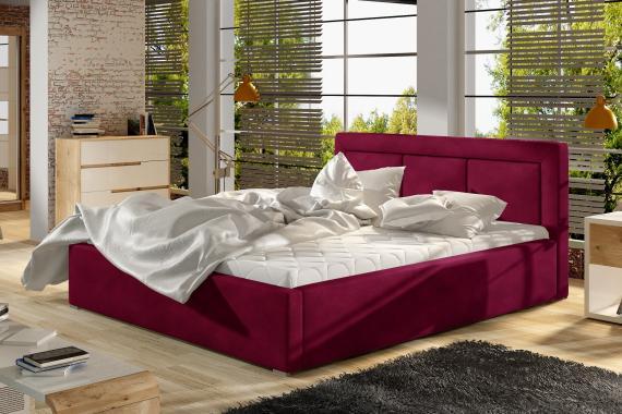 LUCKY čalouněná postel s dřevěným roštem | 4 ROZMĚRY
