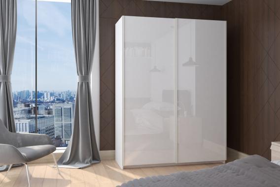 BRICK II bílá šatní skříň s posuvnými dveřmi