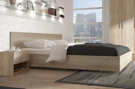 ALEX manželská postel v dekoru dub sonoma 160x200 cm