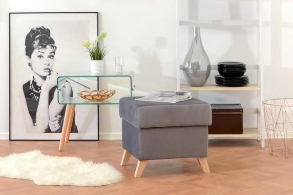 ROSE 3-Sitzer Sofa mit Schlaffunktion, Stauraum und Holzfüßen, skandinavisch, gesteppt