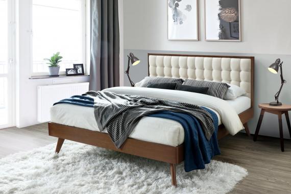 SOLOMO moderná čalúnená posteľ 160x200 s roštom