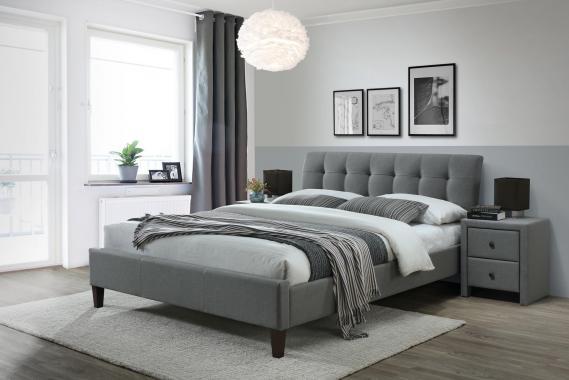SAMARA 2 moderní šedá čalouněná postel 160x200 s roštem