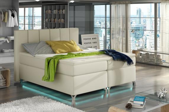VERDI 160x200  kontinentálne posteľ boxspring s LED osvetlením