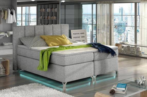 VERDI 180x200 cm kontinentálne posteľ boxspring s LED osvetlením