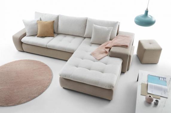 DIORI 3-Sitzer Sofa mit 2 ausziehbaren Hockern, Schlaffunktion, Stauraum