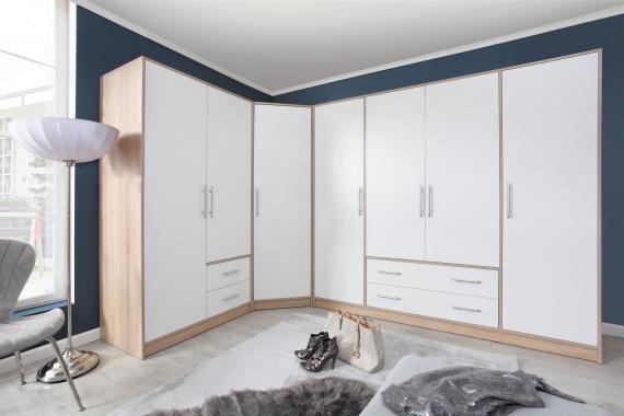 TIROL modulová šatní skříň v dekoru dub sonoma, bílá