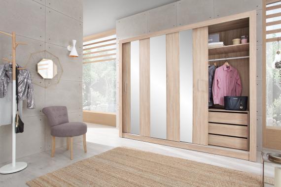 DUNCAN velká šatní skříň se zrcadlem a posuvnými dveřmi | 2 dekory