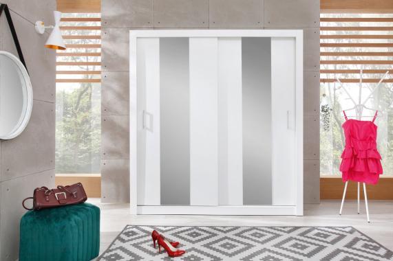 DUNCAN 2 šatní skříň se zrcadlem a posuvnými dveřmi | 2 dekory