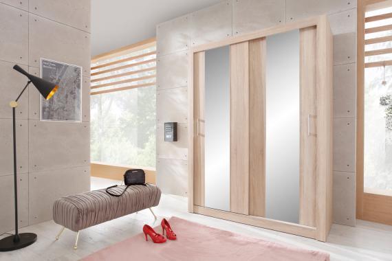 DUNCAN 3 šatní skříň se zrcadlem a posuvnými dveřmi | 2 dekory