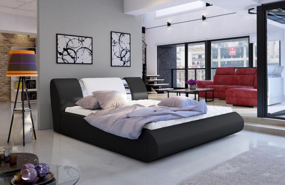 BLUES čalúnená manželská posteľ 160x200 s roštom a úložným priestorom
