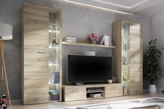 RUMBA XL III obývací stěna, dub sonoma