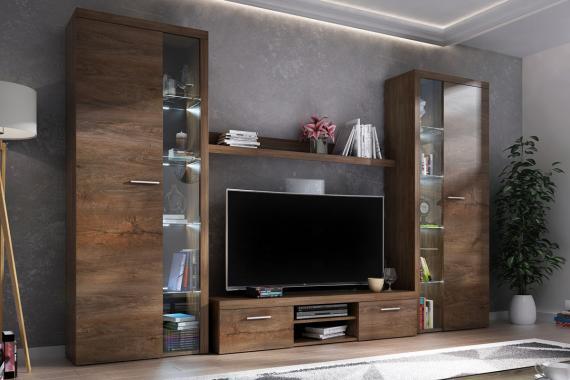 RUMBA XL IV obývací stěna, dub lefkas